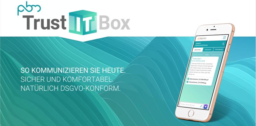 PBM TrustITBox: Die DSGVO-konforme Lösung für Dialog und Dokumentenaustausch jetzt mit eSignatur-Lösung